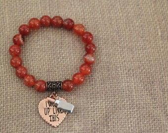 Burnt Orange Bead Heart & Lipstick Charm Bracelet