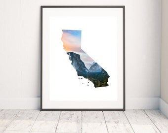 California State Map Art - Yosemite Print - Mountain Range - Unique Map Gift - State Outlines - Yosemite National Park - Photography