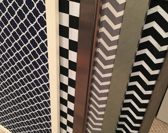 Chevron Black & White Magnetic Board 36 by 24 or 24 by 36
