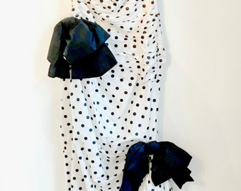 1980s Dress / Lorcan Mullany for Bellville Sassoon / Strapless Fishtail Polka Dot Gown / Bows / Silk / M