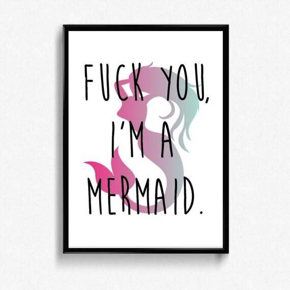 fck you i m a mermaid printable wall art home decor
