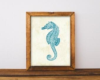 Seahorse Print, Antique Seahorse, Nautical Print, Nautical Nusery, Nursery Print, Bathroom Art, Beach Decor, Printable Art, Instant Download