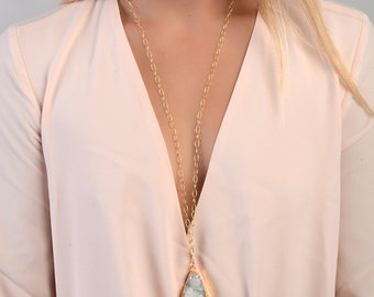 Druzy Necklace, Long Druzy Necklace, Druzy Quartz Necklace, Large Stone Necklace, Natural Druzy Necklace, Druzy Jewelry, Layering Necklace