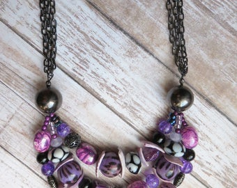 chunky necklace purple - statement multi strand necklace - be fabulous - CO092