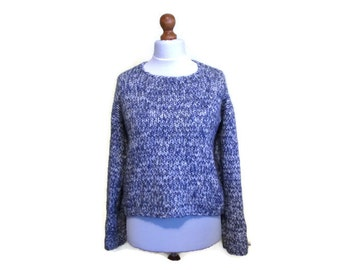 90s Vintage Italian Wool Sweater, Lana wool, Mohair wool Sweater, Blue wool jumper, Chunky knit pullover, size M