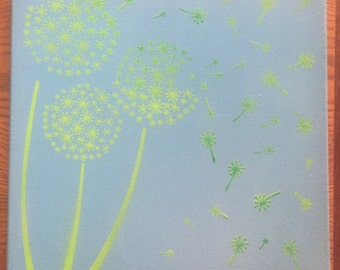Mixed Medium Dandelion Painting on canvas