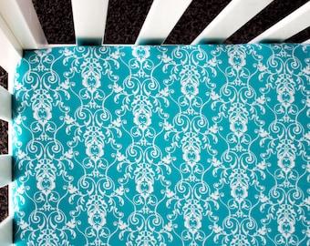 Turquoise Damask Fitted Crib Sheet. Baby Bedding. Crib Bedding. Aqua Crib Sheet.