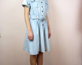 vintage //denim jeans light blue// summer dress M