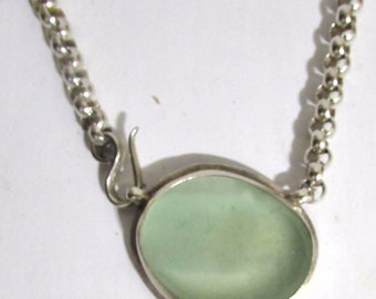 AMY FAUST Original Handmade Vintage Sterling Silver Chain Link Coke Bottle Glass Pendant Choker Necklace Retail Value 605.00