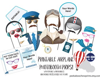 Airplane Party Photo Booth Props Printable Editable Birthday Photobooth Pilot Aviator Pilot's License Baby Shower Up Up and Away WTAPPT