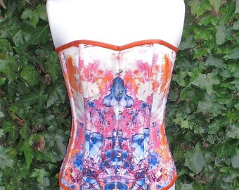 Peak Sunset Corset, Linen and Silk Overbust Corset, Front Busks and Ribbon Lacing at the Back