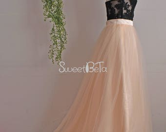 light champagne short train tutu tulle skirt, wedding party tutu skirt, bridesmaid tulle skirt, summer prom skirt