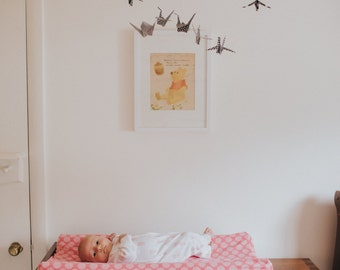 Black and White Paper Crane and Natural Wood Mobile - Origami Mobile - Baby Mobile - Nursery Mobile