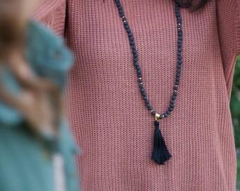 LAVA MALA NECKLACE - Black Lava Mala Beads - Meditation Beads - 108 Mala Prayer Beads - Tassel Necklace - Tibetan Prayer Necklace -Bohemian