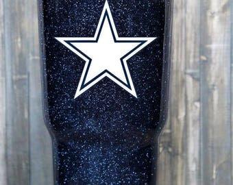 Dallas Cowboys Glitter yeti, Cowboys Glitter Tumbler, Cowboys Glitter Yeti, dallas Cowboys yeti, cowboys tumbler, cowboys rtic, dipped yet