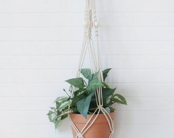 Macrame Plant Hanger with wooden beads
