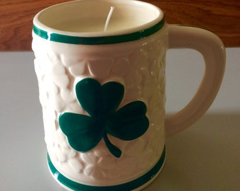 SALE, Shamrock mug soy candle, spring rain scented candle, St. Patrick's Day mug candle, St. Patrick's day home decor, fresh scented candle