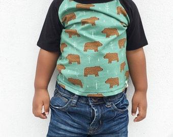 Little Brown Bear//Raglan T-Shirt//Brown Bear Print//Teal top//Organic T-Shirt