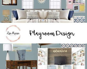 Playroom interior design: Digital service for playroom | Mood board, product list and space plan
