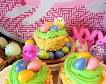"""Easter Themed Rice Krispie Treat """"Cupcakes"""" with Buttecream Frosting"""