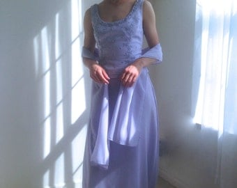 1980s Lilac Gown // Lavender Beaded Formal dress // 80s gown