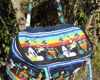 Large African fabric tote bag, ethnic, shape cooler, neck straps