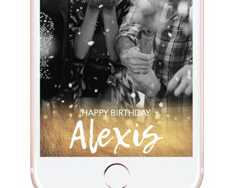 Birthday Snapchat Geofilter, Birthday Snapchat Filter, Custom Snapchat Geofilter, Gold, Celebration, Snap chat Filter
