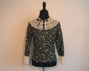 Vintage 1960's Shirt with Lace Trim; Vintage Blouse