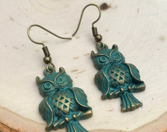 Owl Earrings, Patina Earrings, Owl Charm Earrings, BOHO Bohemian Earrings
