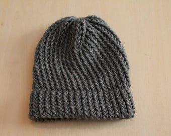 Charcoal gray preemie/newborn knit cap