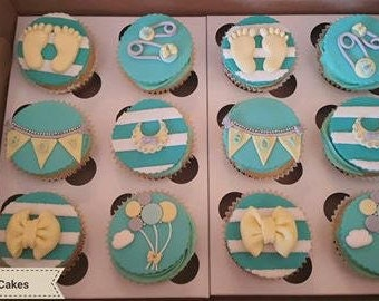Baby Shower Edible Fondant / Gumpaste Cupcake Toppers (12)
