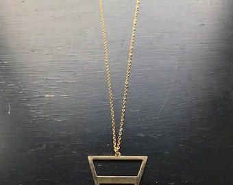 Gold Statement Necklace with Bold Triangle Pendant