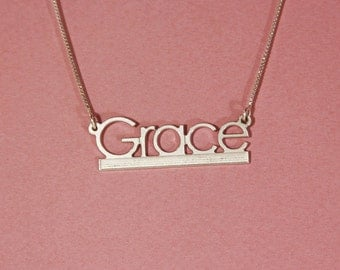 Chain with name sterling silver nameplate necklace grace necklace custom name necklace