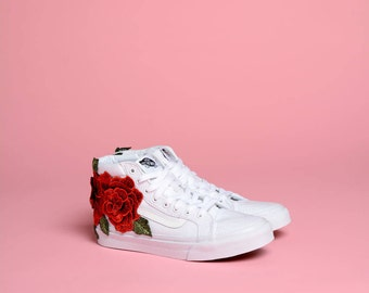 3D Rose Patch Vans Sk8-Hi Slim (Womens)