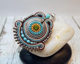 Garden Blossoms Soutache Bangle Bracelet, Beaded Bracelet, Turquoise Bracelet, Silver Plated Hammered Teardrop Bracelet, Statement Jewelry