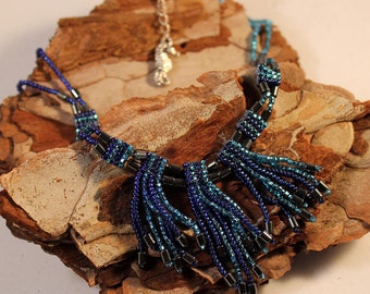 DISCOUNTED; fun fringe necklace, blue necklace, seahorse, pacific, ocean necklace, hematite necklace, sea theme, netherlands, holland, NL