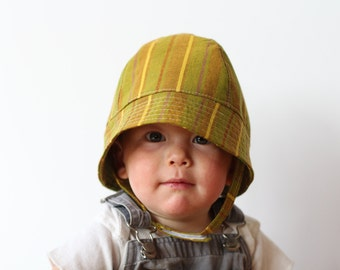 Sun Hat for Babies and Toddlers in Cotton Green and Mustard Stripes
