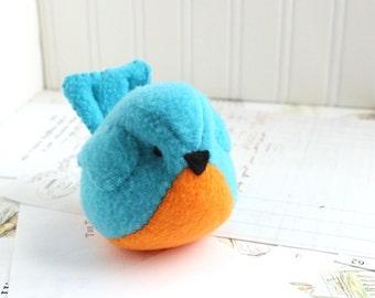 Orange and Blue Fleece Bird Handmade Stuffed Animal Turquoise Plush Bird Bluebird Stuffed Animal