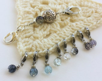 8 Knit or Crochet Stitch Markers with Holder - Eclipse