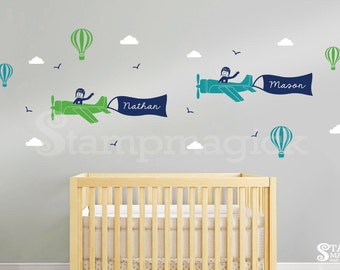 Airplane Wall Decal with Hot Air Balloons Name Banner - Two boys airplanes decal for nursery - decor wall art sticker boys room - K419