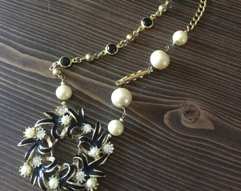 SALE - Wreath Gold Black Asymmetrical Pearl Vintage Victorian Assemblage Necklace One of a kind