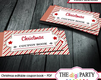 Christmas coupon book gift, printable coupons, activity book, editable pdf DIY ideas for him, her or kids instant download