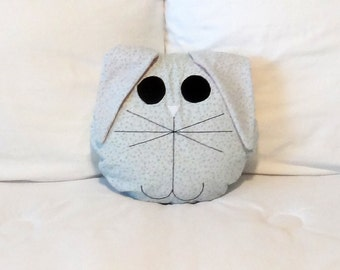 "Bunny, Doll, Owl or Puppy Dog Pillow Cover or Pajama Bag with Appliqued Eyes and Nose - 12"" Round - Fully Lined - Pajama Pillow - PJ Bag"