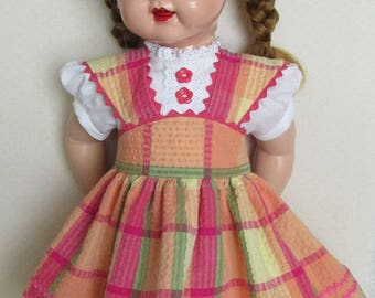 """For 22"""" Saucy Walker - Colorful Seersucker Pinafore Dress Inspired by a '50s Toni Dress"""