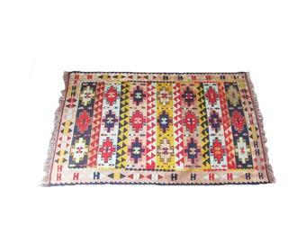 "Vintage Kilim Rug - 5' 8"" x 3' 5"" Navajo Woven Rug - Southwestern Woven Textile - Area Rug - Red Tan Navy Rug - Woven Native American Throw"