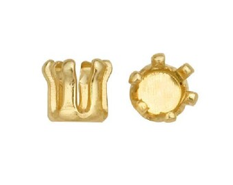 Snap in round prong setting in yellow gold filled or in sterling silver 2mm, 3mm 4mm easy round snap set prong settings
