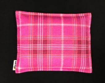 Flannel Corn Heating Pad, Corn Bag, Microwavable Heat Pack, Massage Spa Therapy Pillow, Relaxation Gift, Heated Bags, Pink Plaid Flannel