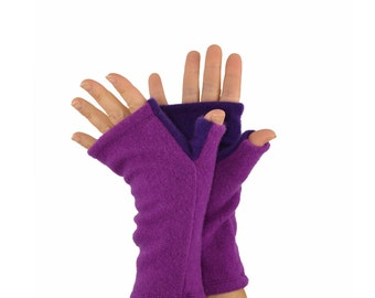 Cashmere Fingerless Gloves in Bright Purple - Upcycled Wool