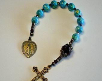 Ocean Jasper with Bronze Preciosa, Miraculous Medal Single Decade Catholic Rosary