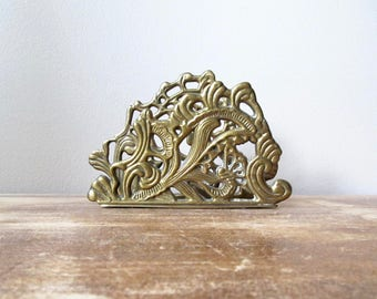brass napkin holder letter file art nouveau organic amorphous shape desk accessory